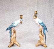 Pair Candelabras - French Porcelain and Gilt Parrot Candelsticks Candl