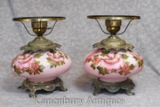 Pair French Painted Glass Lamp Bases Tables Lights