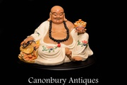 Chinese Happy Buddha - Qing Porcelain Buddhist Statue