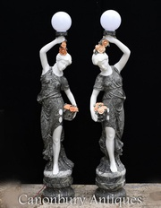 Pair XL Italian Marble Female Figurine Lights Statue Lamps