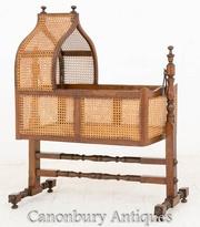 William IV Antique Crib Cot Mahogany and Cane 1800