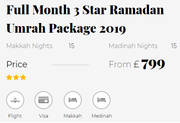 Full Month 3 Star Ramadan Umrah Package 2019