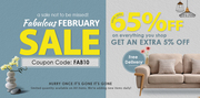 Fabulous February Furniture Sale Get UP TO 65% + EXTRA 5% OFF