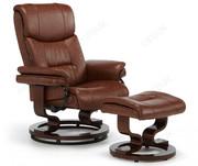 Serene Furnishings Moss Chestnut Leather Swivel Recliner Chair