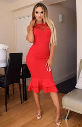 Red Lace Insert Fishtail Bodycon Midi Dress