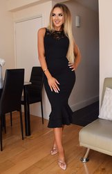 Black Lace Insert Bodycon Fishtail Midi Dress