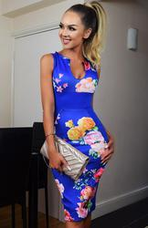 Royal Blue Floral Bodycon Illusion Midi Dress
