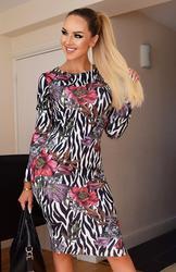 Zebra & Floral Print Long Sleeve Bodycon Midi Dress