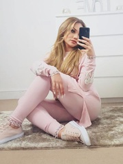 Pink Pearl Bow Detail Lounge Suit