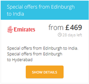 Special offers from Edinburgh to India