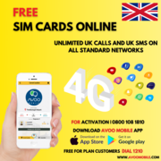 AVOO Mobile - Sims 4G online free in the UK on ordering online with ma