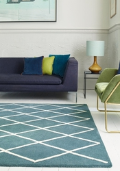 Albany Rug by Asiatic Carpets in Diamond Teal Design - Rugs UK